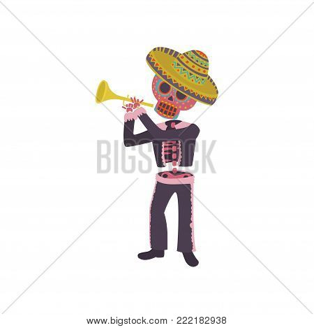 Skeleton in the Mexican national costume playing trumpet, Dia de Muertos cartoon vector Illustration on a white background