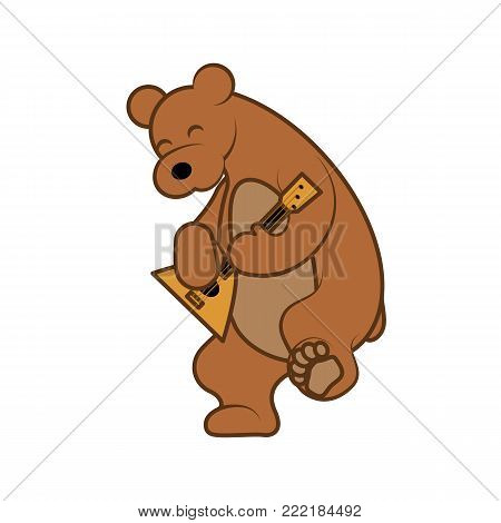 Bear is playing a musical instrument balalaika. Vector illustration from Russia with love