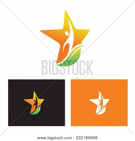 logo of a person reaching up with star and leave background