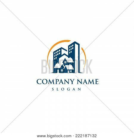 Real estate vector concept logo. Home with window and chimney, simple house symbol, skyscrapers or arrows on the square background