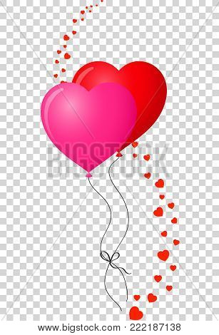 Pair of bounded heart shaped helium red and pink balloons with wavy hearts line decor isolated on transparent background. Vector illustration, clip art. Symbol of love.