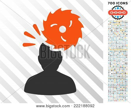 Destroy Person icon with 7 hundred bonus bitcoin mining and blockchain pictures. Vector illustration style is flat iconic symbols design for crypto currency software.