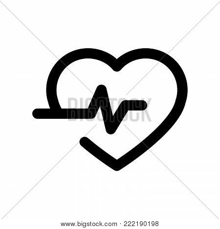 Heartbeat icon isolated on white background. Heartbeat icon modern symbol for graphic and web design. Heartbeat icon simple sign for logo, web, app, UI. Heartbeat icon flat vector illustration, EPS10.
