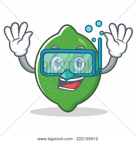 Diving lime character cartoon style vector illustration
