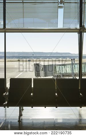 Airport runaway area with finger. Departure. Air transport. Vertical