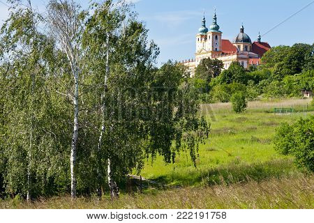 CZECH REPUBLIC, SVATY KOPECEK - MAY 9, 2016: Holly Hill, The Church of the Visitation of the Virgin Mary, town Olomouc, Czech republic. In 1995 visited by the Pope Jan Paul II.