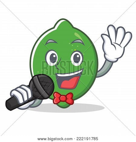 Singing lime mascot cartoon style vector illustration