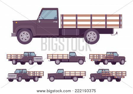 Black empty truck. Vehicle to transport large amounts of cargo, open car for carrying goods and materials. Vector flat style cartoon illustration isolated on white background, different positions