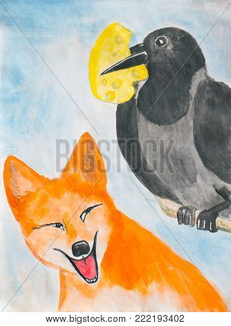 The crow and the fox. Illustration to the fable.