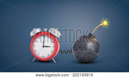 3d rendering of a large red retro alarm clock connected by wire to a round iron lit bomb. Last chance. Short time. Urgent matter.