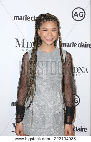 LOS ANGELES - JAN 11:  Storm Reid at the Marie Claire Image Makers Awards 2018 at the Delilah on January 11, 2018 in West Hollywood, CA