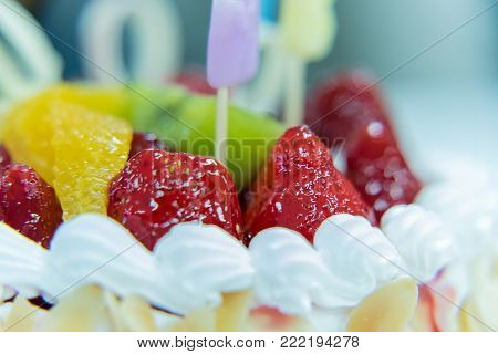 Strawberry Cake With Kiwi And Almond In White Plate With Closeup View Has Ready To Served In The Des
