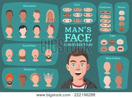 Man's Character Constructor. From Businessman to Hipster. Cartoon Man's Face Parts, Creation Spare Parts. Cartoon Style Faces. Body Part. Vector Illustration poster
