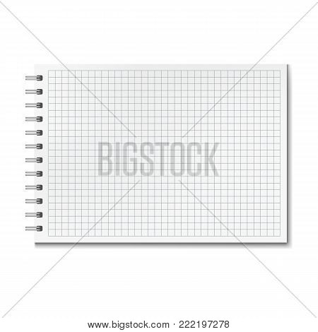 Horizontal vector realistic graph ruled notebook. Notepad with blank quad paper on metallic ring spiral binder, organizer mockup or template for your text