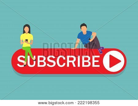Subscribe concept illustration of young man and woman digital tablets and smartphone for following interesting bloggers and networking. Flat design of people addicted to network