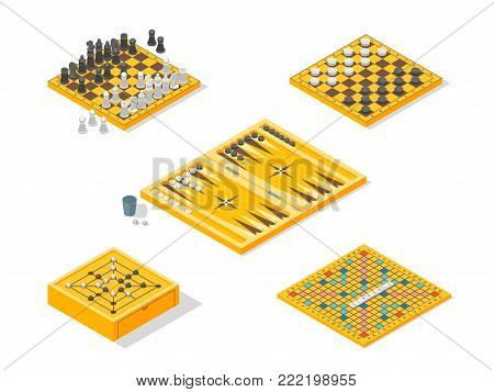Board Games Icons Set Isometric View Include of Backgammon, Chess, Checker and Go. Vector illustration of Game Strategy and Competition
