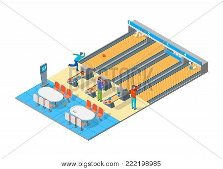 Bowling Alley Throwing Strike 3D Isometric View Sport Game or Leisure Hobby Concept. Vector illustration of Competition Tournament