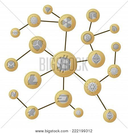 Blockchain. Cryptocurrency internet transaction concept. Gold silver Crypto currency coins. Vector Illustration of process transaction cryptocurrency