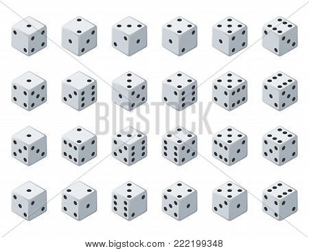 Set 24 authentic icons of dice in all possible turns. Twenty four variants loss dice. White game cubes isolated on white background. Board games dice in 3D view. Vector isometric illustration.