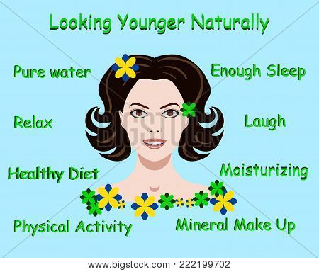 Vector illustration with advice how to stay young and a face of a girl isolated