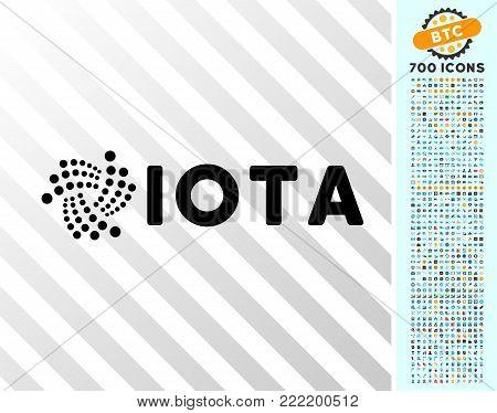 Iota Ticker icon with 700 bonus bitcoin mining and blockchain symbols. Vector illustration style is flat iconic symbols design for blockchain websites.