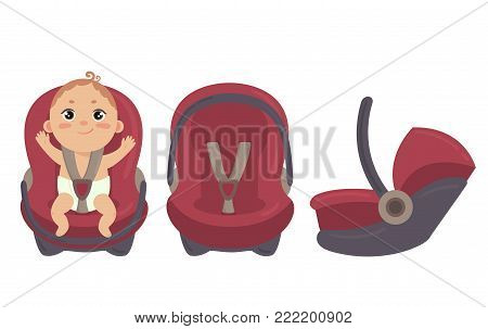 Babyboy in diaper sitting in automobile seat. Car chair for baby from different angles. Side and front view of carseat. Red combo stroller with hand grip. Vector on white background poster