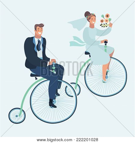 Vector cartoon illustration of wedding invitation card with couple on retro vintage bike. Groom and Bride on Penny farthing bicycle. Funny human characters on isolated background.