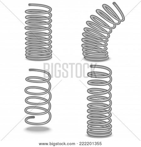 Realistic Detailed 3d Shiny Metal Spiral Flexible Wire Set Closeup View Compressed Compacted and Expansion Type. Vector illustration