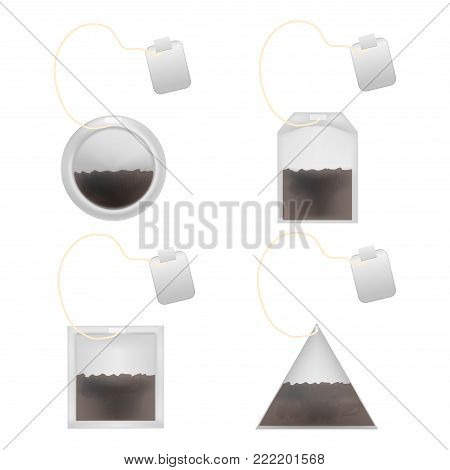 Realistic Detailed 3d Tea Bag Set and Tag Element for Hot Drink. Vector illustration of Circle, Pyramid, Square and Rectangular Teabag