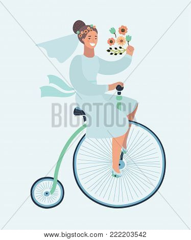 Vector cartoon illustration of Funny wedding invitation with bride riding bicycle. Funny happy female character on Penny farthing bicycle.