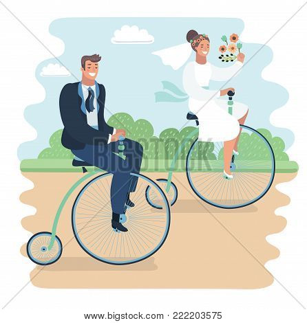 Cartoon vector funny illustration of just married couple riding on retro vintage bike in the park. Happy groom and bride newlyweds. Penny farthing bicycles