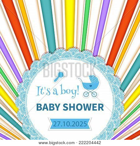 Baby frame with lace and stroller on striped rainbow background