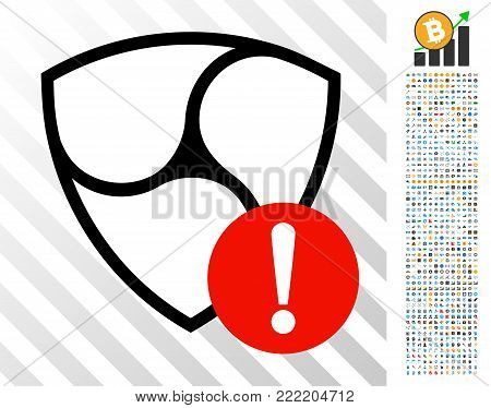 Nem Danger icon with 700 bonus bitcoin mining and blockchain graphic icons. Vector illustration style is flat iconic symbols design for crypto currency apps.