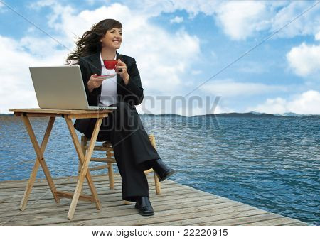 businesslady with laptop is working beside a lake. Unique keyword for this collection is: business77