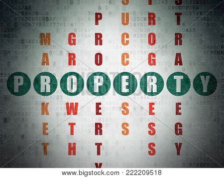 Business concept: Painted green word Property in solving Crossword Puzzle on Digital Data Paper background