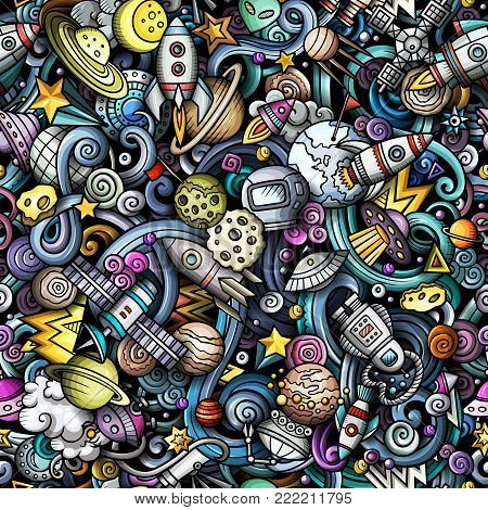 Cartoon cute doodles Space seamless pattern. Colorful detailed, with lots of objects background. All objects separate. Backdrop with cosmic symbols and items
