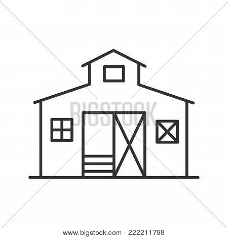 Barn linear icon. Ranch. Agriculture. Thin line illustration. Contour symbol. Vector isolated outline drawing