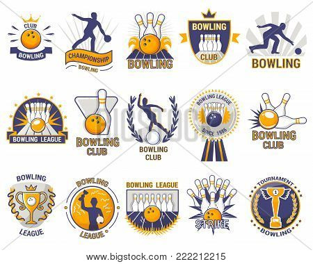 Bowling logo vector bowler sport game with alley or bowling ball skittles and strike on tournament or league in bowl club isolated on white background.