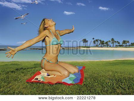 beautiful woman beside the ocean.