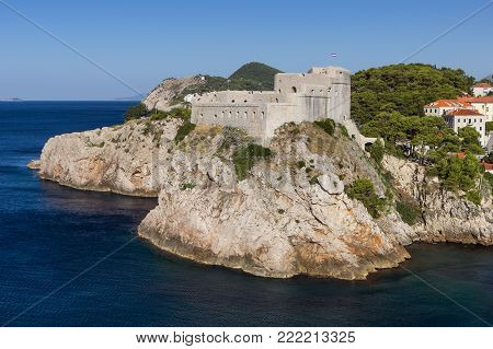 View of Fort Lovrijenac (St. Lawrence Fortress) on a steep cliff in Dubrovnik, Croatia.