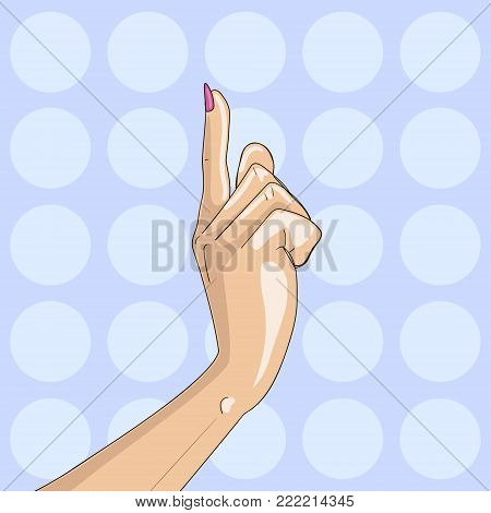Woman point finger gesture pop art vector illustration. Retro style. Comic book style imitation. Attention, accent