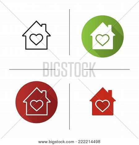 House with heart inside icon. Flat design, linear and glyph color styles. Family house. Warm, comfort and safe residence. Isolated vector illustrations