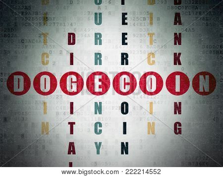 Cryptocurrency concept: Painted red word Dogecoin in solving Crossword Puzzle on Digital Data Paper background