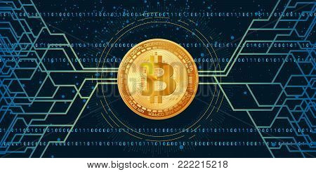Horizontal web banner with golden bitcoin and dark background with digital connection lines