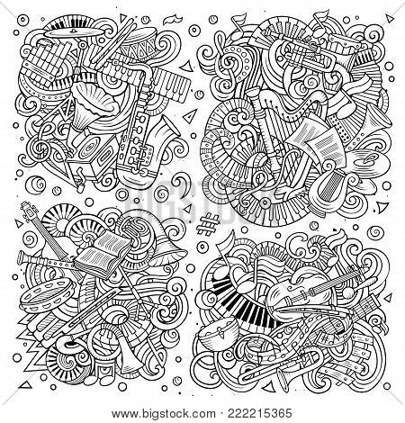 Line art vector hand drawn doodles cartoon set of classical musical instruments combinations of objects and elements