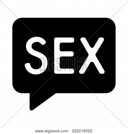 Inscription of sex simple vector icon. Black and white illustration of sex word. Solid linear sex icon. eps 10