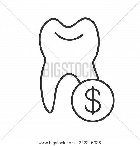 Tooth with dollar sign linear icon. Thin line illustration. Healthy teeth. Dentistry price. Contour symbol. Vector isolated outline drawing