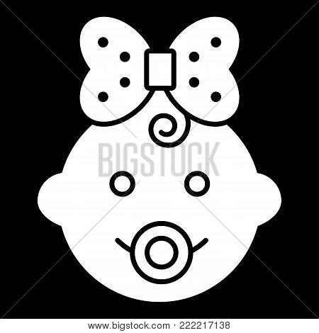Baby girl vector icon. Black and white funny baby girl face illustration. Solid linear icon of little girl. eps 10