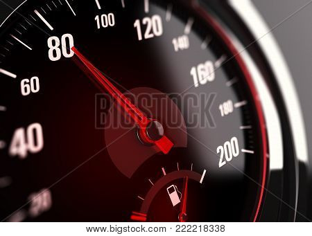 3d illustration of a speedometer with needle pointing the number 80.