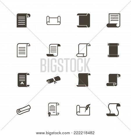 Scrolls and Papers icons. Perfect black pictogram on white background. Flat simple vector icon.